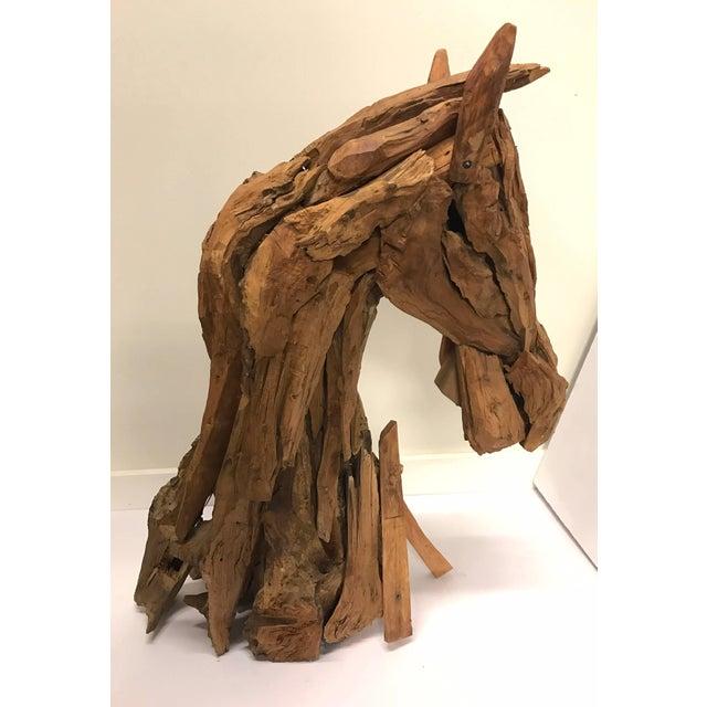 Folk Art Carved Driftwood Reclaimed Wood Horse Equestrian Sculpture Modern Folk Art For Sale - Image 3 of 6