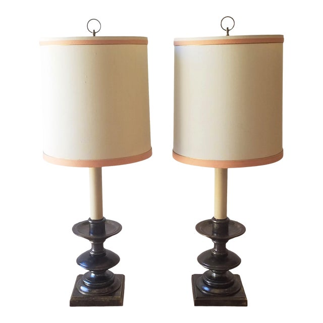 Frederick Cooper Mid 20th Century Bronze Table Lamps With Original Shades - a Pair For Sale