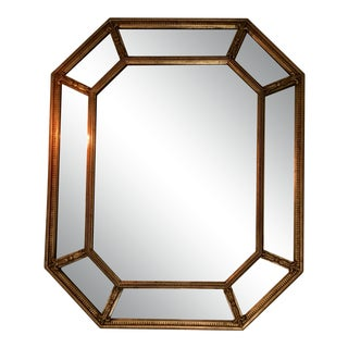 Gold-Leaf Beveled Wall Mirror For Sale