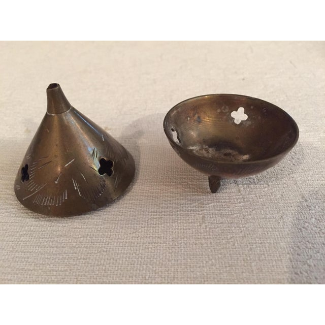 Metal Vintage Brass Incense Holders - 2 Pieces For Sale - Image 7 of 12