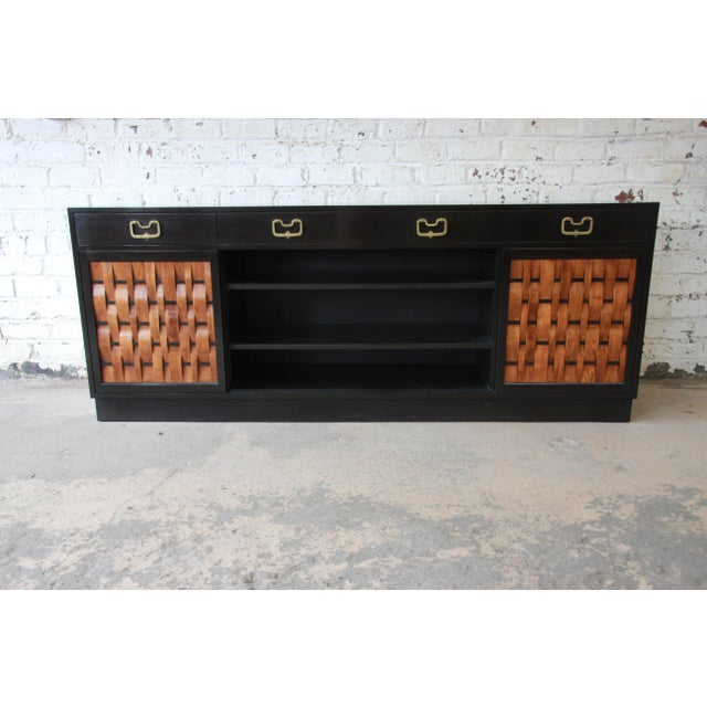 Brown Edward Wormley for Dunbar Woven Front Sideboard Credenza For Sale - Image 8 of 13