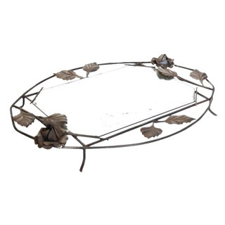 Wrought Iron Mirrored Tray For Sale
