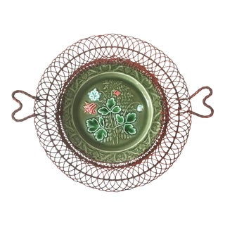 German Majolica Wire Red Flowers Basket, circa 1900 For Sale
