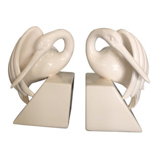 Mid Century Fitz and Floyd Swan Bookends - a Pair For Sale