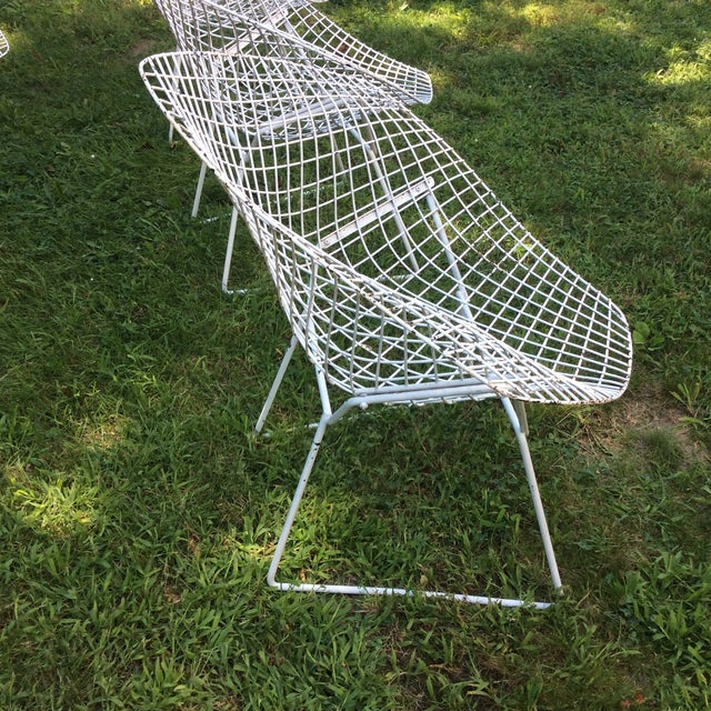 Harry Bertoia Diamond White Chairs - Set of 4 - Image 5 of 8