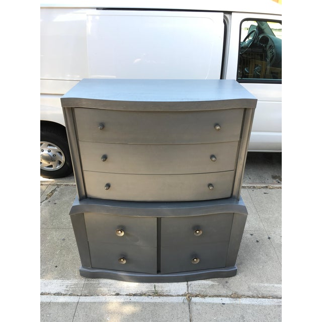 1940s Vintage Grey Mahogany Highboy For Sale - Image 13 of 13