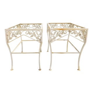 Vintage Pair Wrought Iron Side Tables For Sale