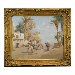19th Century Egyptian Desert Oil Painting by Impressionist Frank Dean For Sale
