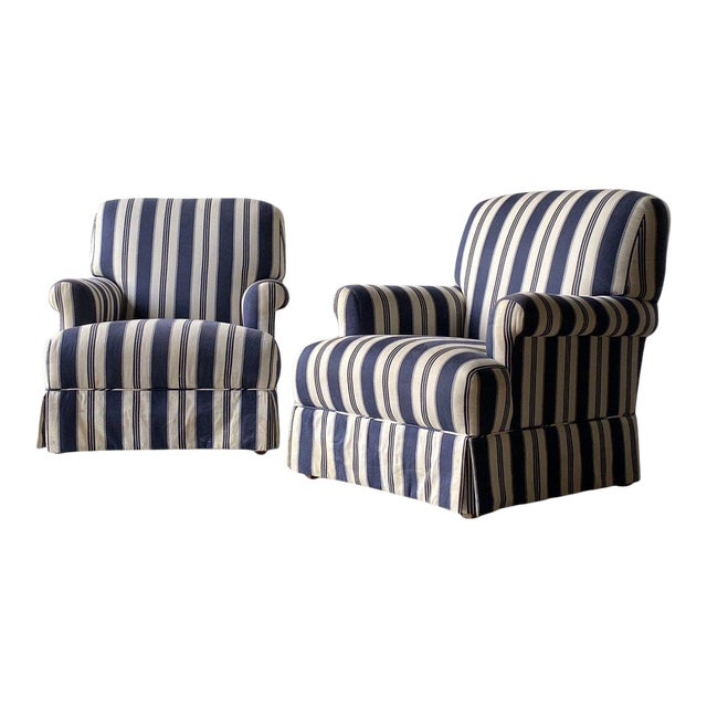 Bridgewater Striped Upholstery Club Chairs - A Pair For Sale