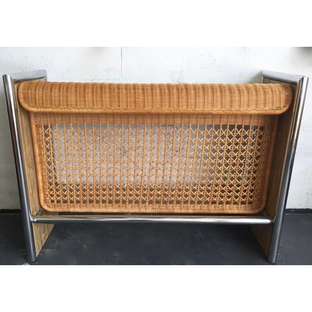 1970's Chrome,Faux Wood & Rattan Bar - Image 5 of 5