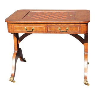 English Regency Style Maitland Smith Tooled Leather Game Table For Sale