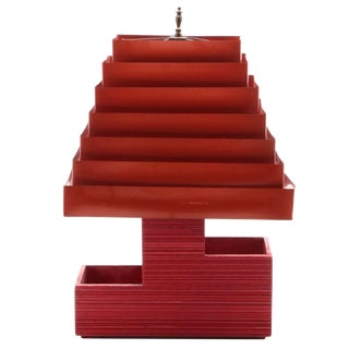 Vintage Red Mid-Century Modern Wooden Lamp With Venetian Metal Tiered Lamp Shade For Sale