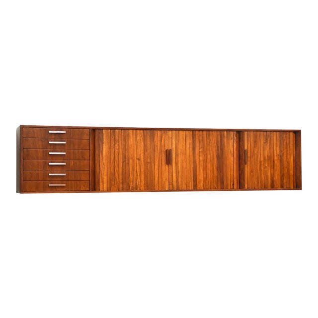 """108"""" Floating Walnut Tambour Credenza by Furnette For Sale"""