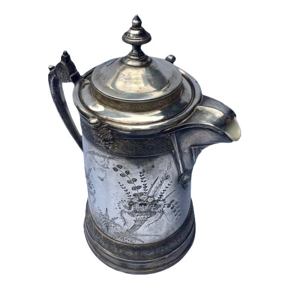 1870s Reed & Barton Victorian Silverplated Water Pitcher For Sale