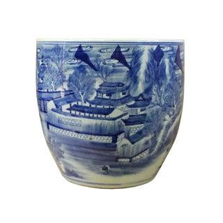 Chinese Blue White Oriental Scenery Theme Ceramic Pot Planter For Sale