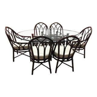 McGuire Bamboo Glass Dining Set For Sale