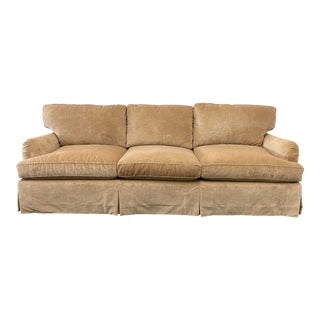 Belmar Custom Upholstery Rolled Arm Cream Velvet Sofa For Sale