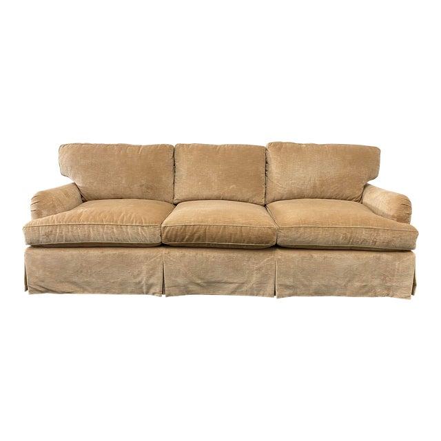 Belmar Custom Upholstery Rolled Arm Cream Velvet Sofa For Sale