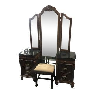 Vanity With Bombay Stool - A Pair For Sale
