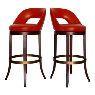 Hollywood Regency Mid-Century Orange Bar Stools - a Pair