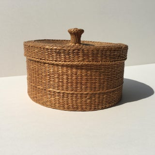 Vintage Natural Sweetgrass Basket With Knobbed Cover Preview