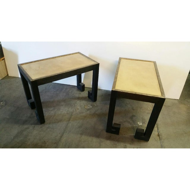Modern Transitional Paul Marra Distressed Greek Key Side Tables - a Pair For Sale - Image 3 of 12