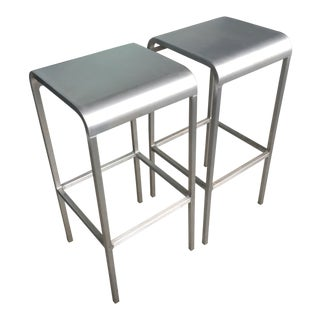 Emeco by Foster Aluminum Barstools - A Pair For Sale