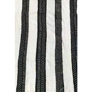 """African Bogolan Black & White Mud Cloth Textile 60 """" by 40 """" For Sale"""