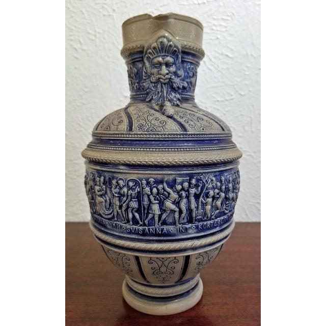 """1584 Flemish Salt Glazed Pottery Beer Ewer """"Story of Susanna"""" After Engel Kran For Sale In Dallas - Image 6 of 13"""