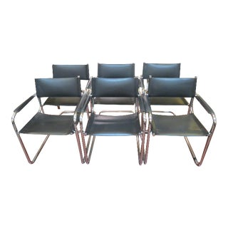 1960s Mart Stam Chrome and Leather Dining Chairs - Set of 6 For Sale