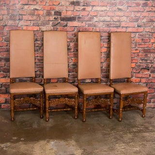 Early 20th Century Leather Upholstered High Back Oak Dining Chairs- Set of 8 Preview