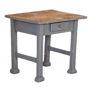 Vintage Blue Painted Side Table For Sale