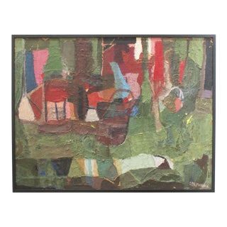 1960s Vintage Abstract Art Painting