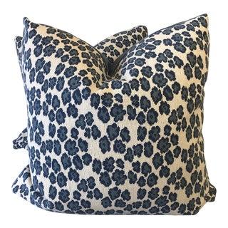 """Blue Cheetah Gros Point 22"""" Pillows-A Pair For Sale"""