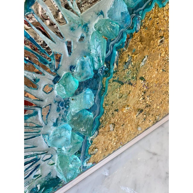 Canvas Unique Abstract Framed Oil Painting With Resin and Rock Crystal on Canvas by Franchy For Sale - Image 7 of 13