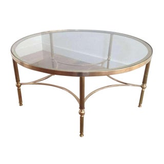 1970s Brass Coffee Table, Round For Sale