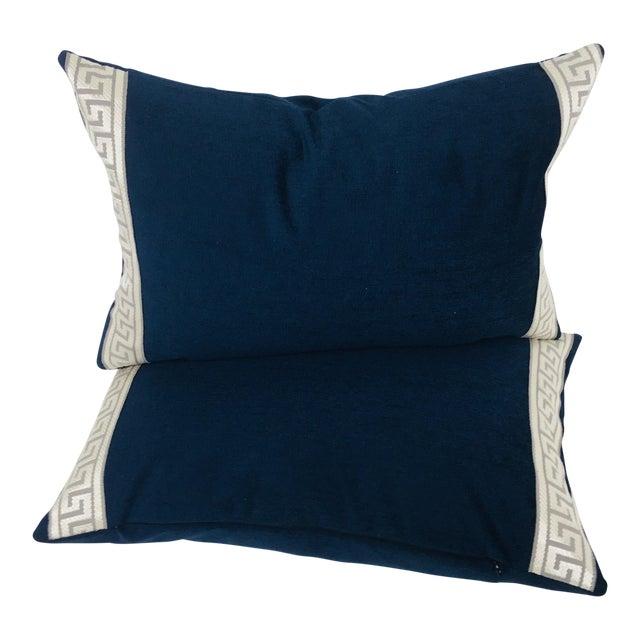 Indigo Blue Plush Chenille Lumbar Pillows- a Pair For Sale