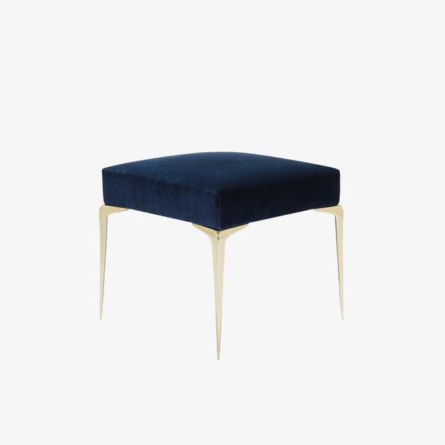 Mid-Century Modern Colette Petite Brass Ottomans in Navy Velvet by Montage, Pair For Sale - Image 3 of 8