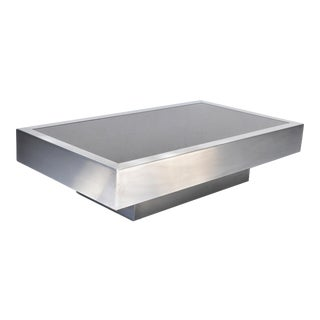 Willy Rizzo Style Italian Brushed Steel & Black Mirror Glass Coffee Table 1970 For Sale