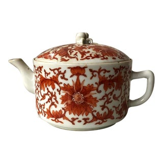 Antique Chinoiserie Coral and White Teapot For Sale