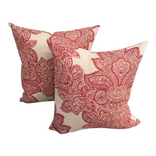 Maris Rose Floral Pillows - A Pair For Sale