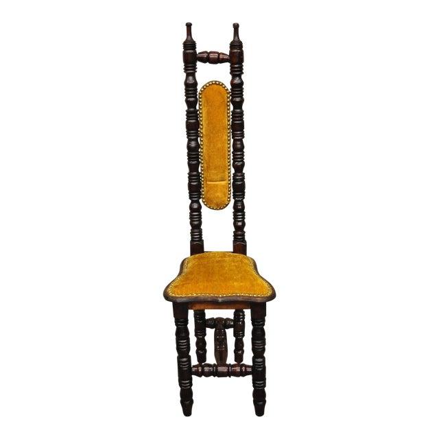 Vintage Spanish Jacobean Renaissance Revival Gothic Gold Hall Prayer Chair For Sale