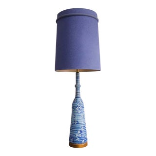 Midcentury Blue Ceramic Lamp With Floral Motif For Sale