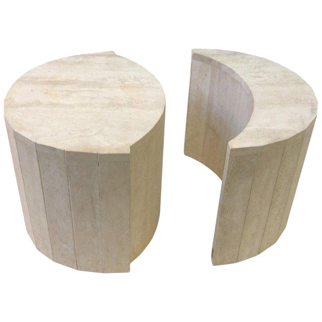 Oval Italian Travertine Cocktail Table by Willy Rizzo For Sale