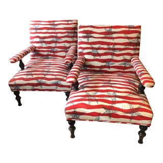 Red White and Blue Upholstered Club Chairs- a Pair For Sale