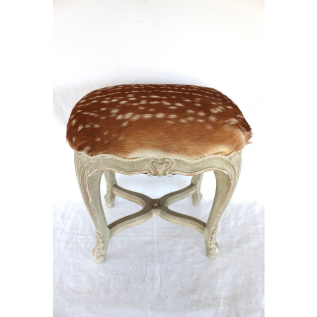 Very elegant Louis XV style stool with deer skin upholstery and Samuel and Sons braided trim.