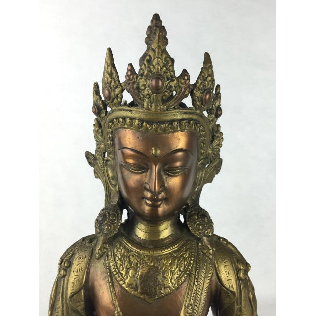Vintage Tibetan Buddha Bronze-Cast Statue For Sale - Image 6 of 11