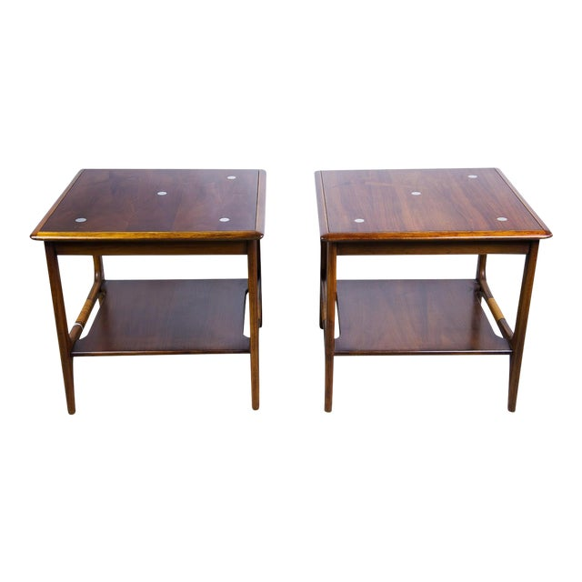 Constellation Walnut & Metal Tables - A Pair - Image 1 of 11