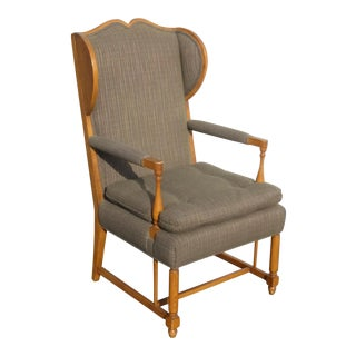 Vintage French Country Oak Gray Green Accent Wing Back Accent Arm Chair For Sale