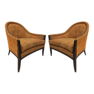 Mid Century Modern Walnut & Upholstered Lounge Chairs - a Pair For Sale